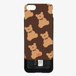 adult bear pattern brown 카드슬라이드 케이스