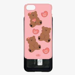 pink spring slow bear pattern 카드슬라이드 케이스