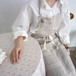 natural linen check apron
