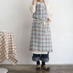 blue linen check apron