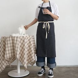 navy pin stripe apron