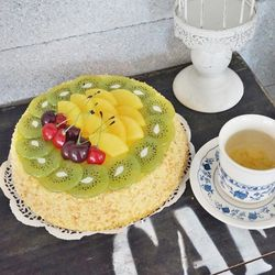 모형 키위 파인애플 체리 케이크
