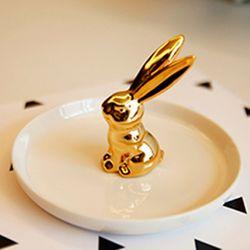 하얀접시 황금 토끼 반지 보관접시 -보석함