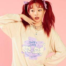 NEONMOON 20SP Sleepy Cat T-shirt - IVORY