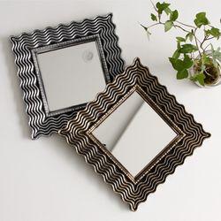 미니 사각 물결 스톤 거울 (4type)