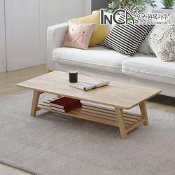고무나무 원목 선반형 접이식 테이블 1200