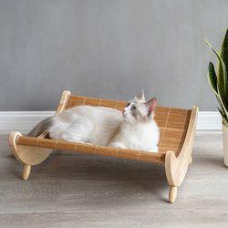강아지 고양이 원목 하우스 흔들 침대 방석 해먹 대나무 쿨매트