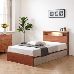 이스테지아 원목 LED 서랍형 침대 프레임 SS