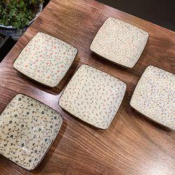 일본 도자기 아리타 400주년 한정판 사각 접시 5p세트