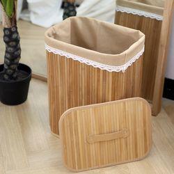대나무 세탁바구니(빨래바구니수납바구니)