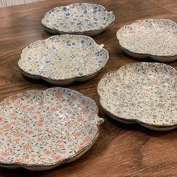 일본 식기 그릇 도자기 아리타 400주년 한정 나뭇잎접시 5p세트