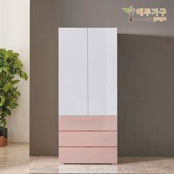 예투가구 보우터치 3단서랍옷장800 - 핑크투톤