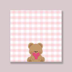 러블리 곰돌이 핑크체크 떡메모지