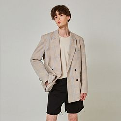 OVER PLAID DOUBLE BLAZER [BEIGE]