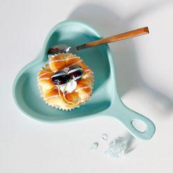 밀키 하트 손잡이접시 플레이트 홈카페 디저트그릇