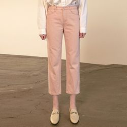 PASTEL STRAIGHT COTTON PANTS [PINK]