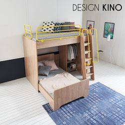 브레인 이층 벙커침대 BR4330(사다리+철제가드+일층침대+옷장)