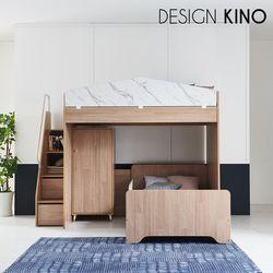 브레인 이층 벙커침대 BR5230(계단+목제가드+일층침대+옷장)