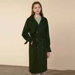 STRAP OVER DOUBLE TRENCH COAT [BLACK]