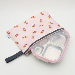 팝핑팝콘 어린이집 다이어트  도시락 식판 일자형 핑크