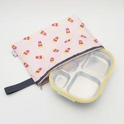 팝핑팝콘 어린이집 다이어트  도시락 식판 일자형 옐로우