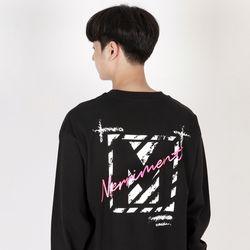 (UNISEX)Crack M Lettering T-shirt(BLACK)