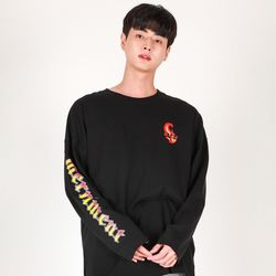 (UNISEX)Flame M Lettering Long-Sleeve T(BLACK)