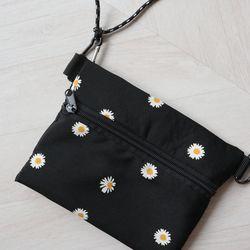 데이지 꽃 지퍼 사각 미니 크로스백 (2color)