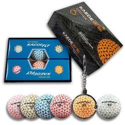 카에데 FLY 6개 칼라볼+볼주머니 키링 골프공 선물 세트