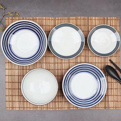 1인식기세트 일본 도자기그릇 세세라기 수입그릇 5p