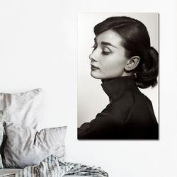 캔버스액자 자연 오드리햅번 흑백사진 A타입 25x25cm