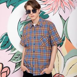 25P TROPICAL CHECK HALF SHIRTSblue [체크 반팔셔츠]