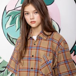 25P TROPICAL CHECK HALF SHIRTSbeige [체크 반팔셔츠]