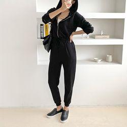 Black Hood Easy Jumpsuit