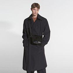 OVERFIT SIGNATURE TRENCH COAT BLACK