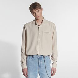 SOFT HENLEY NECK SHIRT BEIGE