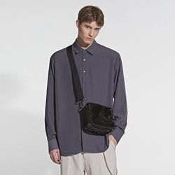 REAL SILKY BASIC SHIRT CHARCOAL