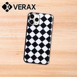 아이폰XR 블랙 화이트 패턴 슬림 하드 케이스 P466