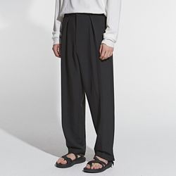 STRAIGHT BANDING LONG SLACKS BLACK