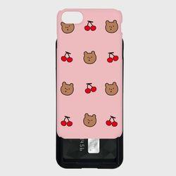 line cherry gummy pattern 카드슬라이드 케이스