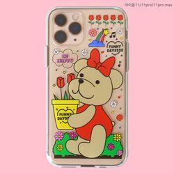 튤립 리본 곰돌이 곰인형 투명 젤리 케이스(갤럭시아이폰)
