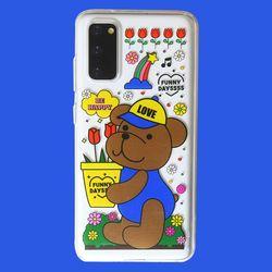 튤립 모자 곰돌이 곰인형 투명 젤리 케이스(갤럭시아이폰)