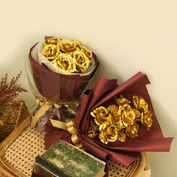 황금 골드 금 장미 꽃다발 원형 금장미