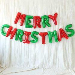 은박풍선 커튼세트 (MERRY CHRISTMAS) 레드앤그린