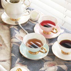 차모아 커피잔 디어 캐서린 컵 소서 2인조 스카이블루