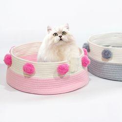 고양이아지트 (핑크) 고양이집 고양이바구니 패브릭바스켓