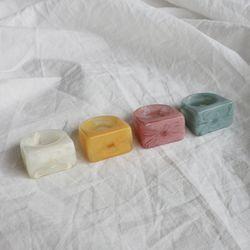 사각 볼드 마블 아크릴 컬러 반지 (4color)