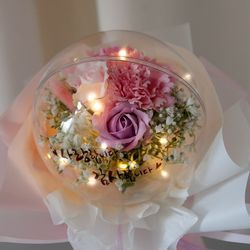 LED 세일러벌룬 카네이션 꽃다발 30cmP 조화 FAICFT