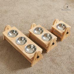 높이각도조절 강아지 고양이 그릇 원목식탁 세트 2구 R046