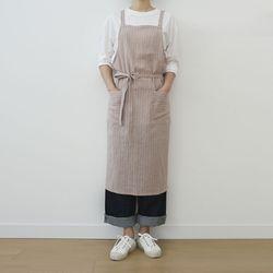 pin stripe cross apron [ gray ]
